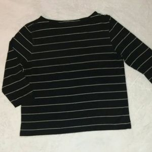 Tops - Black and White Striped Long Sleeve